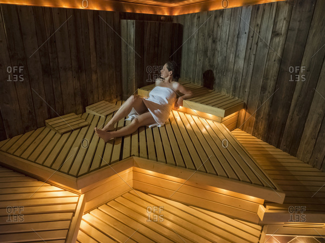 Woman relaxing in sauna of Palais-Thermal, Bad Wildbad, Baden-Wurttemberg, Germany