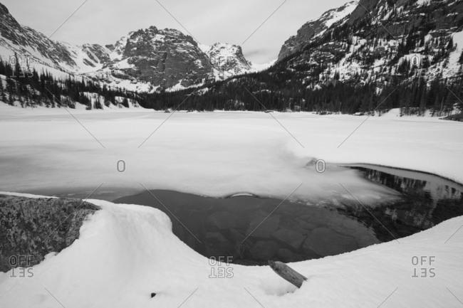 Frozen Lake in Rocky Mountains