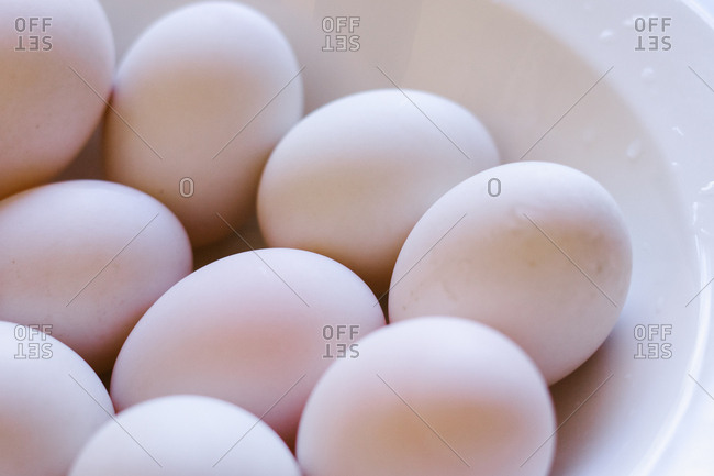 Close-up of fresh eggs in a bowl