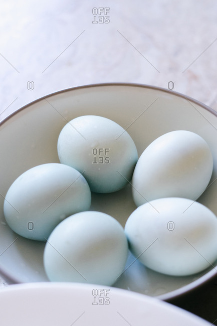 Fresh white eggs in a bowl
