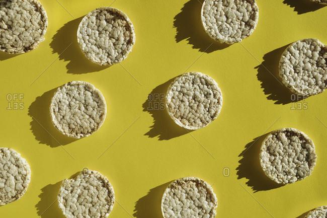 Geometric arrangement of puffed rice cakes