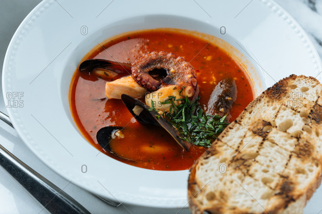 Close up of a seafood soup