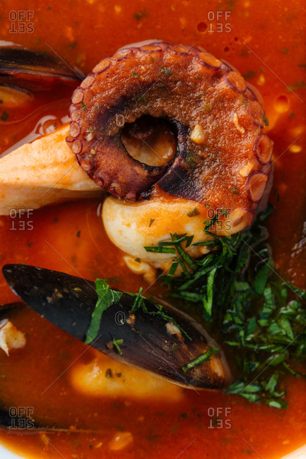 Extreme close up of a seafood soup