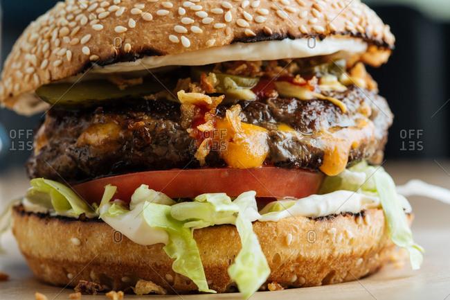 Close up of a cheeseburger