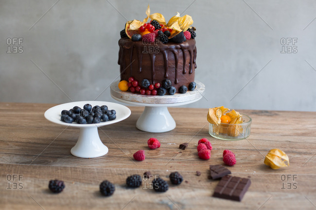 Decadent chocolate sponge cake topped with variety of berries