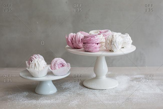 Soft fluffy zefir dusted with powder sugar