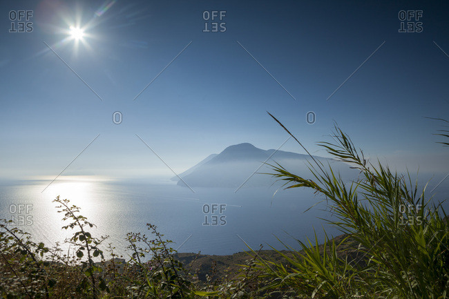 View of Salina from Lipari, Aeolian Islands, Italy, Mediterranean, Europe