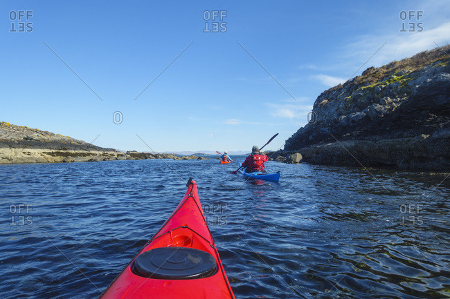 Sea kayaking around the Inner Hebrides, Scotland, United Kingdom, Europe
