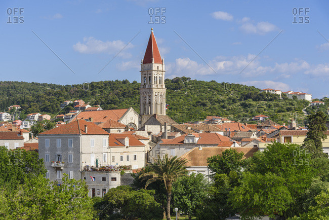 Trogir Old Town, UNESCO World Heritage Site, looking towards the Cathedral of St. Lawrence, Trogir, Croatia, Europe