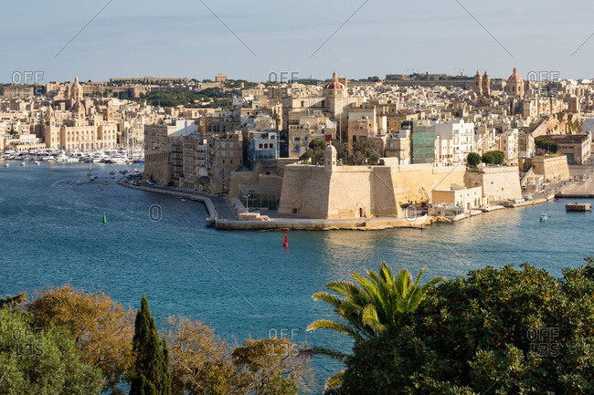 Senglea, one of the Three Cities, and the Grand Harbour in Valletta, UNESCO World Heritage Site and European Capital of Culture 2018, Malta, Mediterranean, Europe