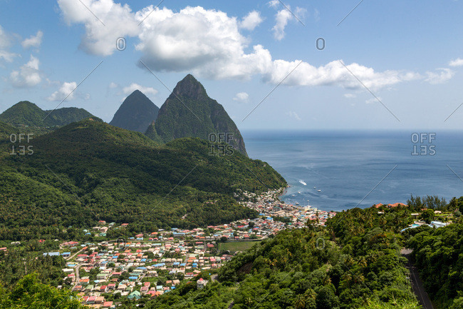 The town of Soufriere with the Pitons, UNESCO World Heritage Site, beyond, St. Lucia, Windward Islands, West Indies Caribbean, Central America
