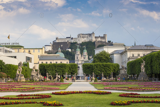 June 20, 2017: View of Hohensalzburg Castle from Mirabell Gardens, UNESCO World Heritage Site, Salzburg, Austria, Europe
