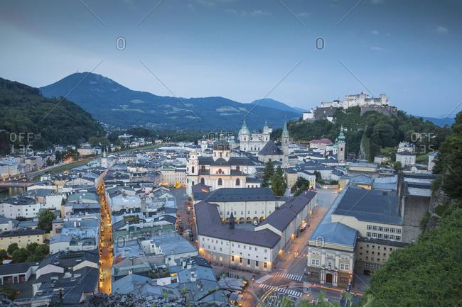 View of Hohensalzburg Castle above The Old City, UNESCO World Heritage Site, Salzburg, Austria, Europe
