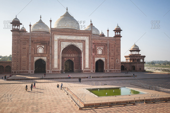 January 10, 2017: Mosque in the Taj Mahal Complex, UNESCO World Heritage Site, Agra, Uttar Pradesh, India, Asia