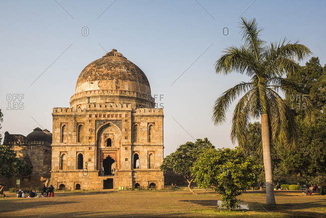 January 12, 2017: Bara Gumbad and Mosque, Lodhi Gardens (Lodi Gardens), New Delhi, India, Asia