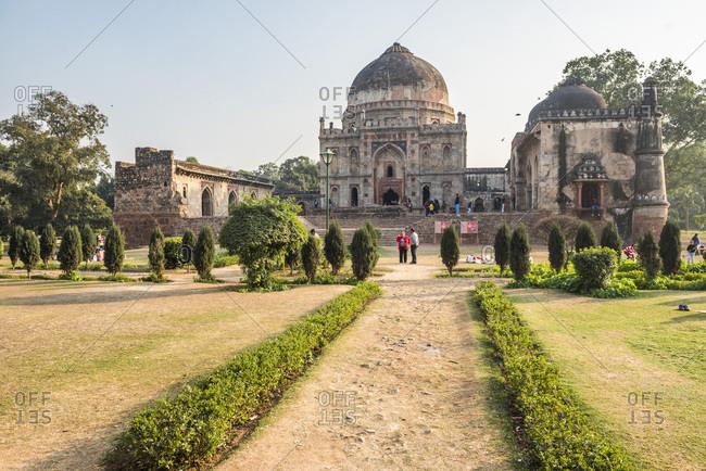 January 12, 2017: Bara Gumbad and Mosque, Lodi Gardens (Lodhi Gardens), New Delhi, India, Asia