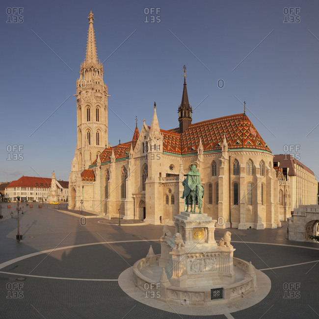 August 23, 2017: Equestrian statue of King Stephen I, Matthias Church, Fisherman's Bastion, Budapest, Hungary, Europe