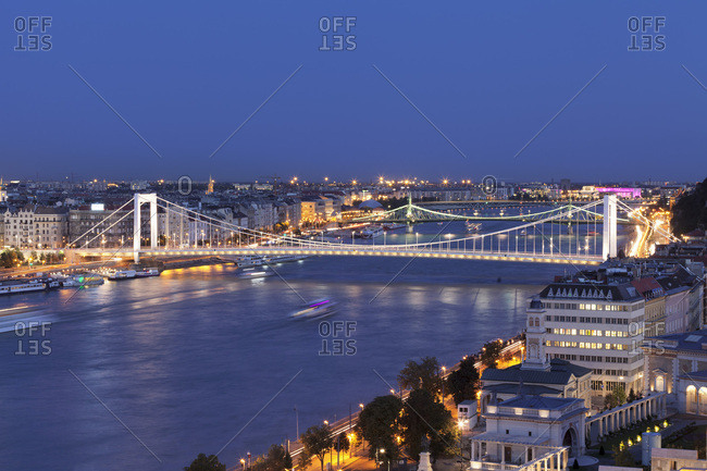 August 23, 2017: View over Danube River to Elisabeth Bridge and Liberty Bridge, Budapest, Hungary, Europe