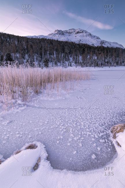 Frozen lake, Lej da Staz, St. Moritz, Engadine, Canton of Graubunden (Grisons), Switzerland, Europe