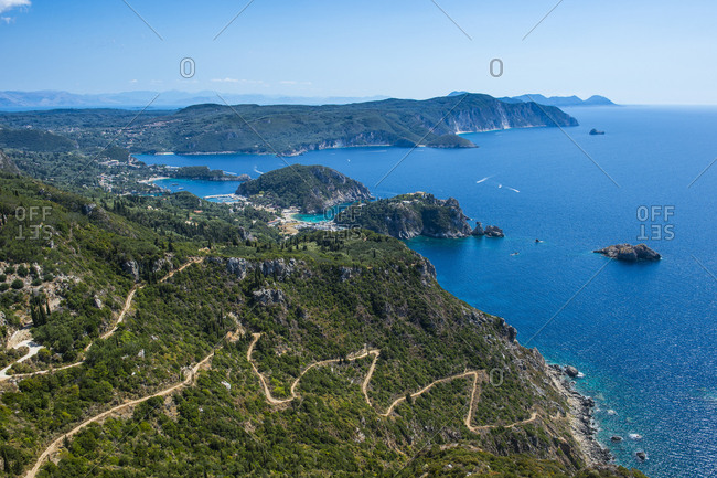 Beautiful coastline, Paleokastritsa, Corfu, Ionian islands, Greek Islands, Greece, Europe