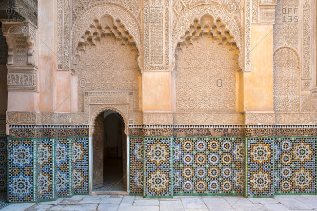 December 13, 2016: Ben Youssef Madrasa, 16th century Islamic College, UNESCO World Heritage Site, Marrakesh, Morocco, North Africa, Africa