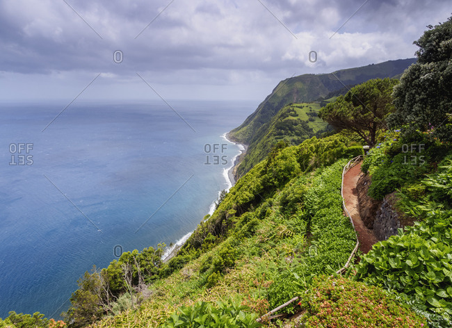 Miradouro da Ponta do Sossego, garden and view point, Sao Miguel Island, Azores, Portugal, Atlantic, Europe