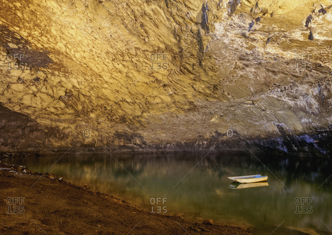 Lake in the Furna do Enxofre, volcanic cave, Caldeira, Graciosa Natural Park, Graciosa Island, Azores, Portugal, Atlantic, Europe