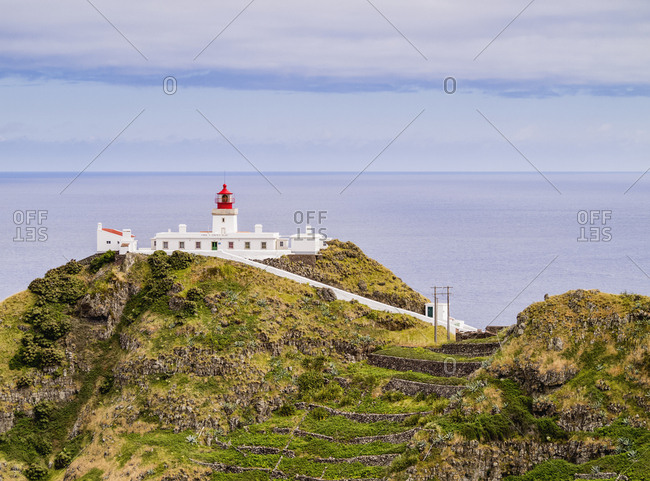 May 31, 2014: Lighthouse on Ponta do Castelo, Santa Maria Island, Azores, Portugal, Atlantic, Europe