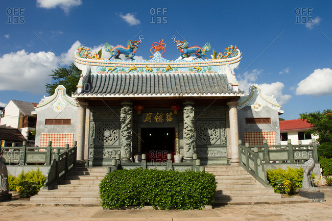 Chinese Buddhist temple, Vientiane, Laos, Indochina, Southeast Asia, Asia
