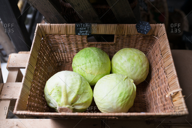 Cabbage in a basket in a small grocery store