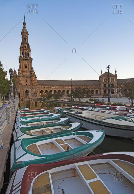 September 26, 2017: Spain, Seville, Boats floating on pond next to Plaza De Espana