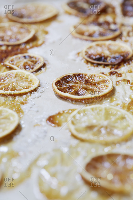 Caramelized lemons on parchment paper