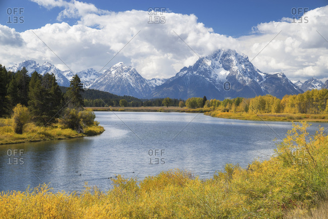 USA, Wyoming, Landscape with Snake River and Teton Range