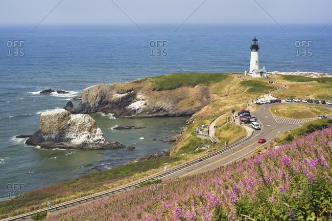 USA, Oregon, Yaquina Head Lighthouse, Aerial view of lighthouse on sea coast
