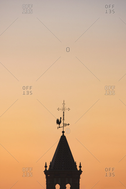 Spain, Seville, Silhouette of Church bell tower