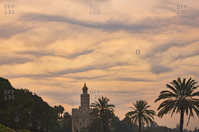 Spain, Seville, Torre del Oro, Unusual cloud formation at dawn