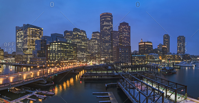 USA, Massachusetts, Boston, City waterfront panorama at dusk