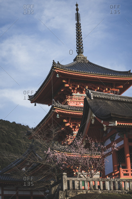 Looking up at pagoda of Kiyomizu temple in Kyoto, Japan