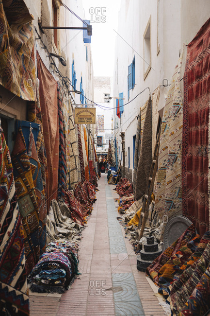 Morocco, Rabat - October 3, 2017: Fabrics for sale in alley