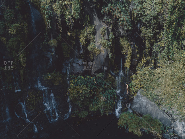 Mid distance view of woman in bikini enjoying waterfall at forest