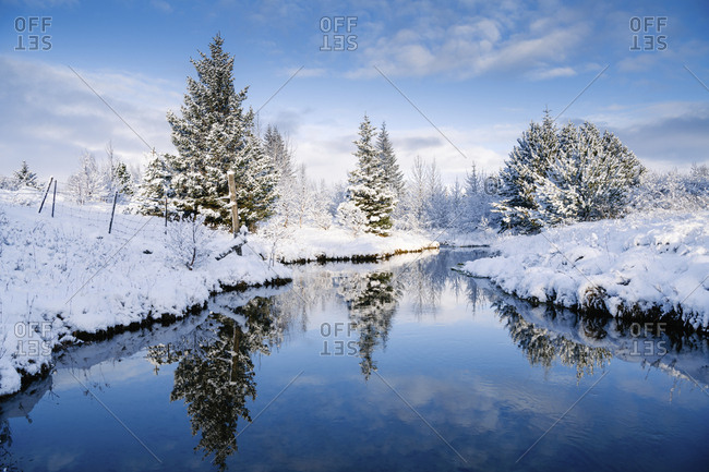 Scenic view of trees by stream amidst snow covered field