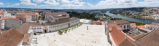 Elevated panorama from the top of the bell tower of the former Royal Palace and current University of Coimbra