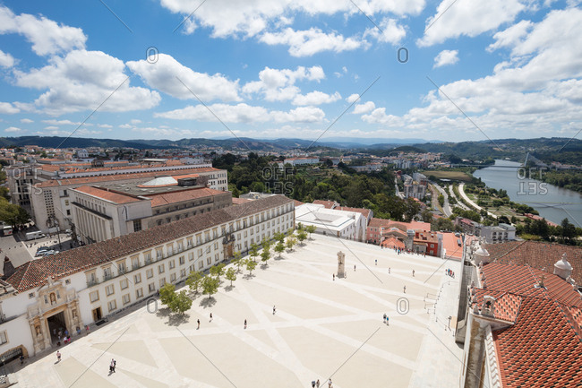 Elevated view of courtyard from the top of the bell tower of the former Royal Palace and current University of Coimbra