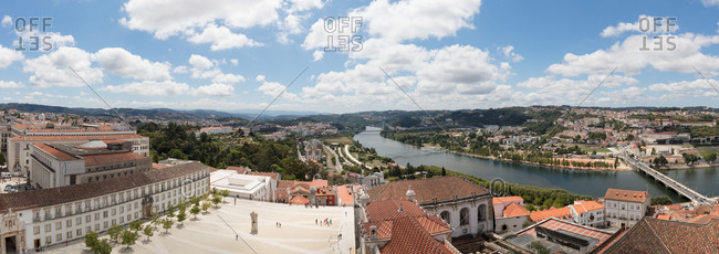 High angle panoramic view of River Mondego over the courtyard of the University of Coimbra