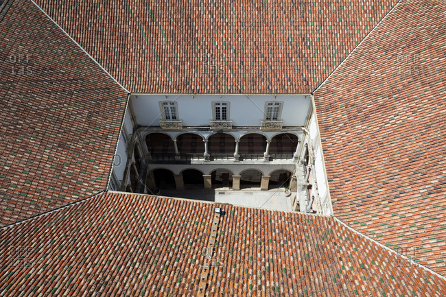 Looking down into the courtyard of one of the buildings on the campus of the University of Coimbra