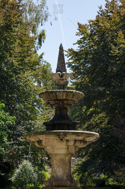 View of a fountain in the botanical gardens of the University of Coimbra