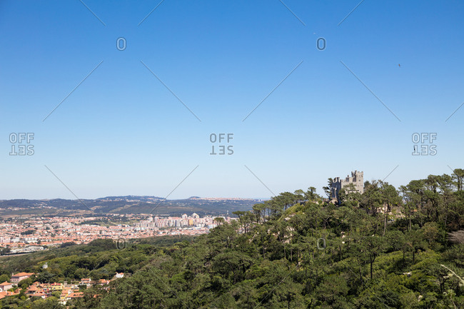 Wide angle view of The Castle of the Moors on hilltop overlooking Sintra, Portugal