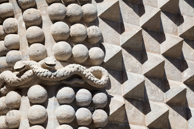 Detail of serpents and pyramid carvings in wall of Pena Palace in Sintra, Portugal