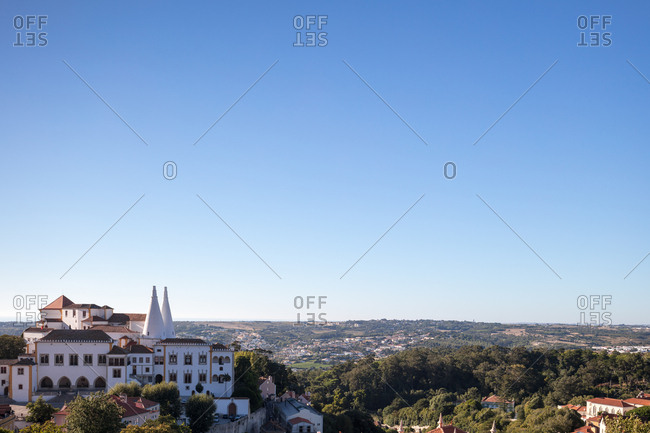 Wide angle view of the National Palace overlooking the town of Sintra, Portugal