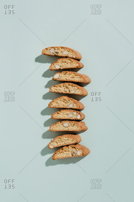 Top down view of almond biscotti lined up in a row